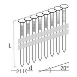 """Nastrelovacie klince na klampiarske príponky """"HAFTE"""" 2,8 x 25 mm, A2 nerez BEA + 2 ks plynové náplne 30 ml"""